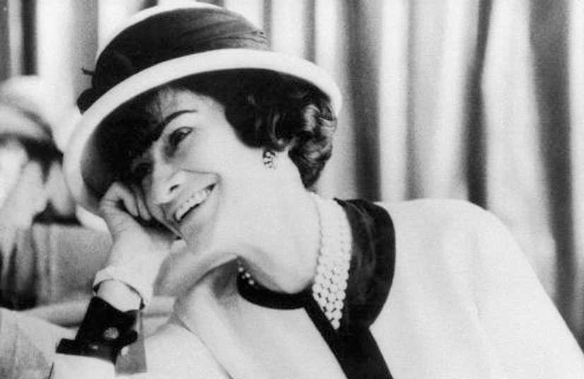 coco chanel in boater hat
