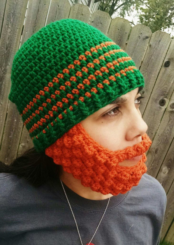 puff stitch beard hat