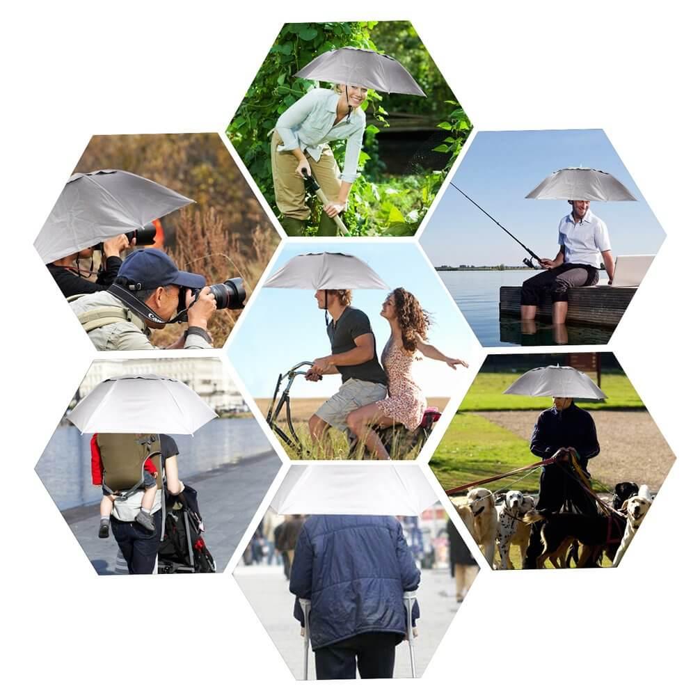 "1. Luwint 36"" Diameter Elastic Folding Umbrella Men Gardening Hat"