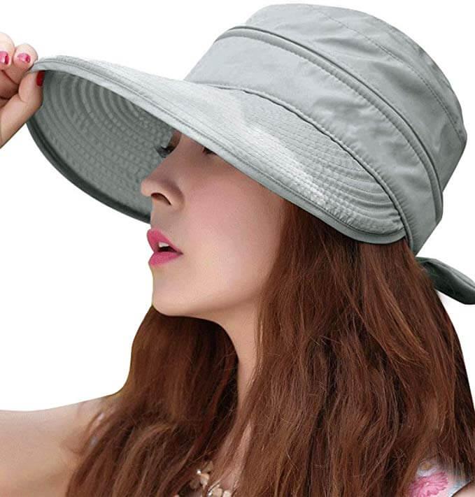 3-in-1 Sun Hat Mask & Flap Womens Wide Brim Summer Hat Visors