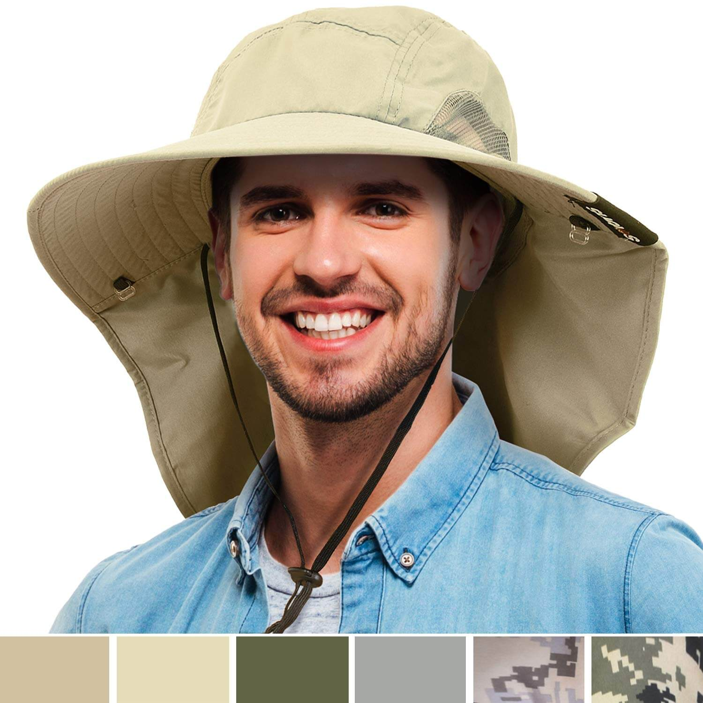 4. Tirrinia Mens Wide Brim Sun Hat with Neck Flap