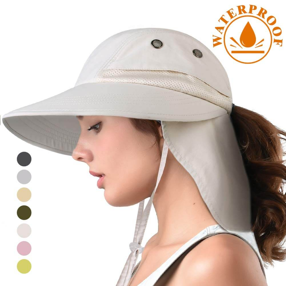 Hat with Neck Flap for Women Ponytail Packable Sun Protection Women Gardening Hat
