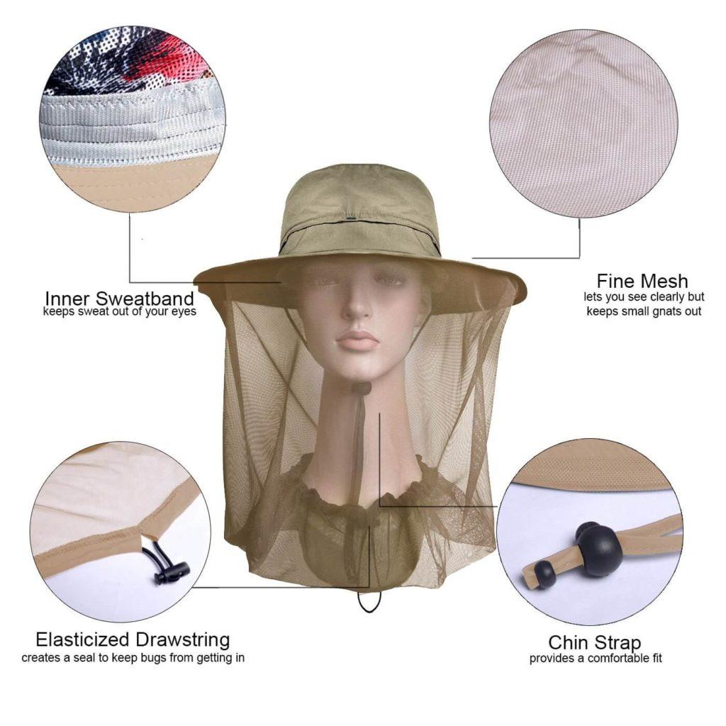 5. Lenikis Outdoor Sun Protection Gardening Hat with Net Hat Bucket
