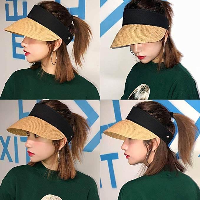 5. Rollup Straw Sun Visor Foldable Wide Brim Gardening Hat