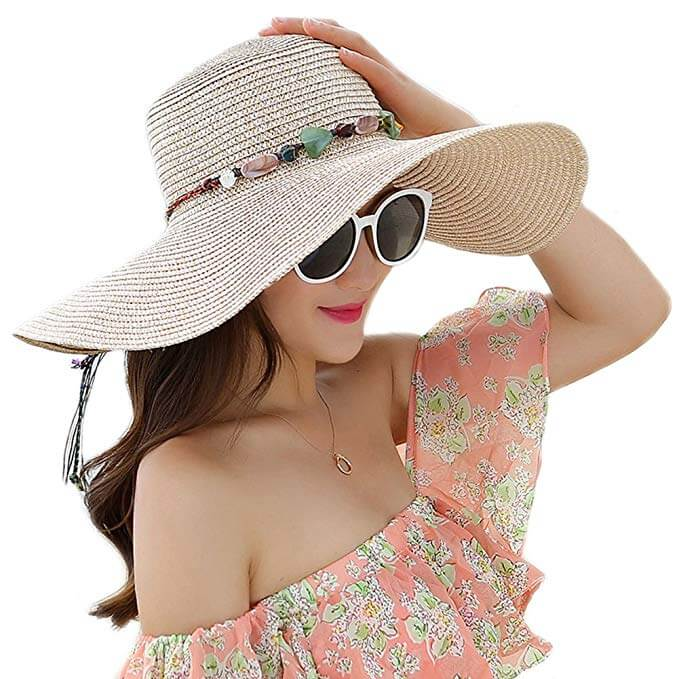 6 Adrinfly Travel Packable Wide Brim Adjustable Straw Hat UPF over 50