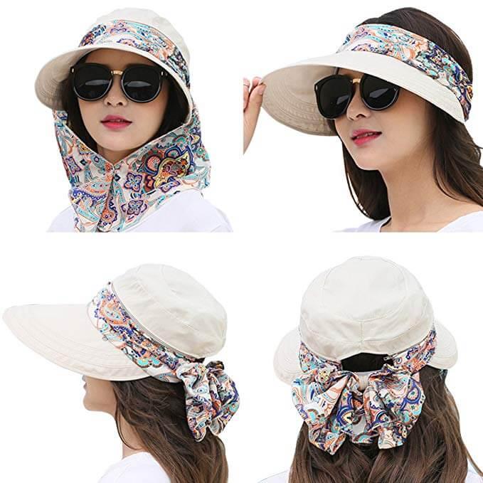 7 Lanzom Women Lady Wide Brim Gardening Cap Visor Hats UV Protection