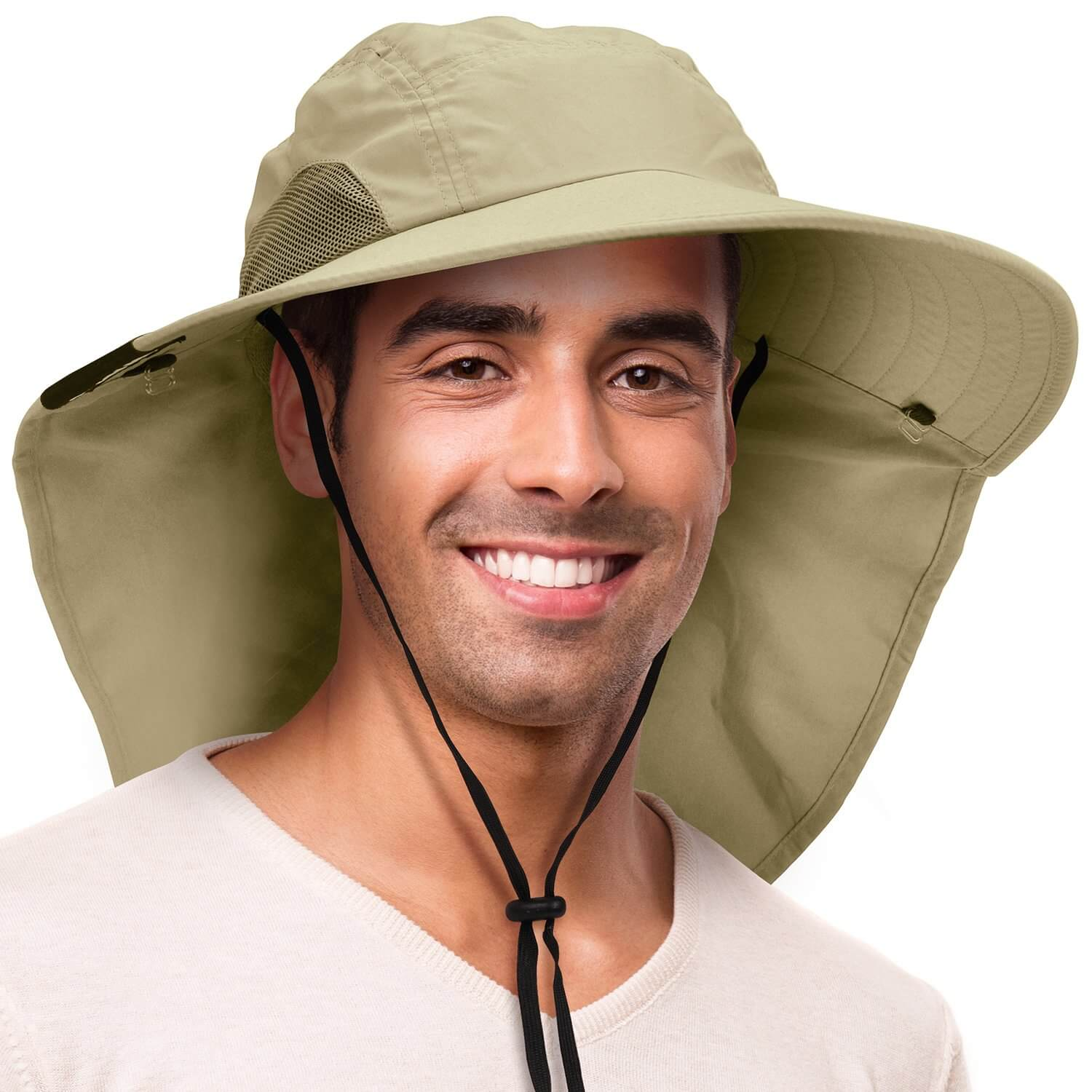 9 Solaris Outdoor Hat with Ear Neck Flap Cover - Wide Brim Sun Protection Unisex Gardening Cap