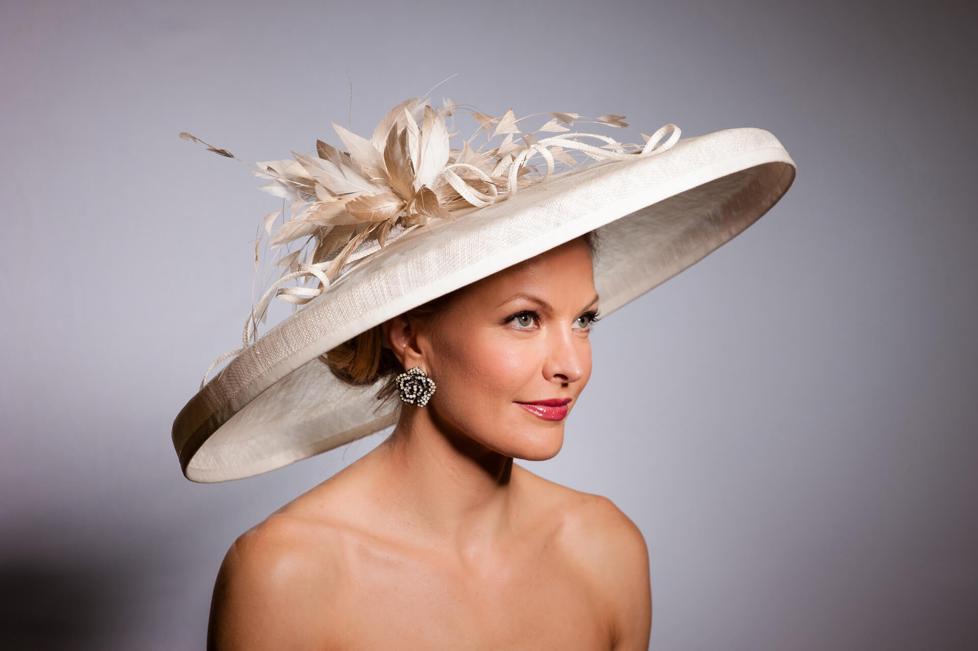 A Lady Wearing Wedding Hat